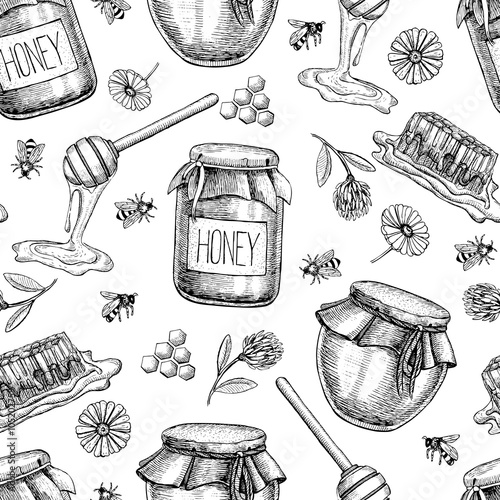 Cotton fabric Vector honey seamless pattern. Vintage hand drawn background.