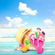 Fashion accessories summer flip flops, hat, glasses on bright turquoise blue board on the beach