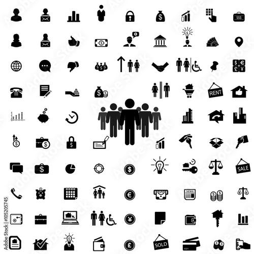 Fotografía  Набор бизнес иконок и фигурок людей.