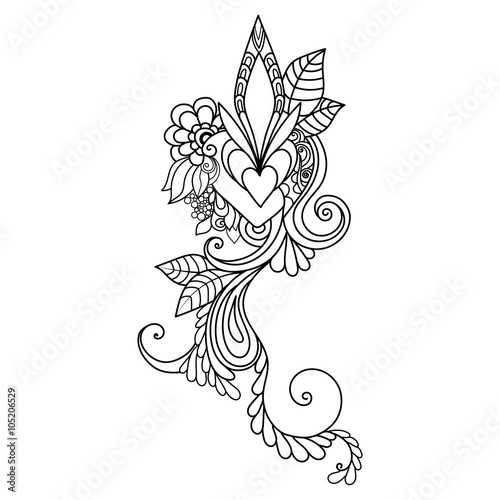 Zentangle floral pattern  Hand-drawn design element  Doodle art