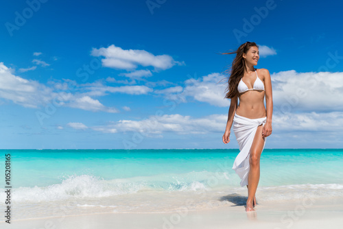 Beach Woman In Fashion Beachwear White Cover Up Skirt Clothing Asian Girl Tourist Wearing