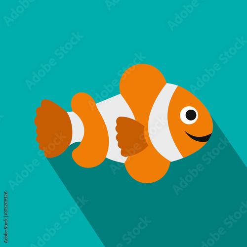 Fotografie, Tablou  Clownfish flag icon, flat style