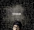 Think. Half Face Genius Boy Thinking Wearing Glasses Chalkboard