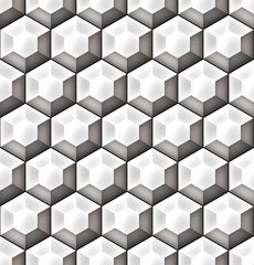 FototapetaGeometric seamless pattern of three‐dimensional hexagons. Gray scale background vector design with optical effect.