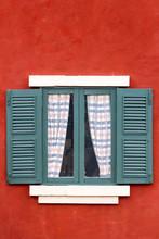 Italian Style Green Window On Red Wall