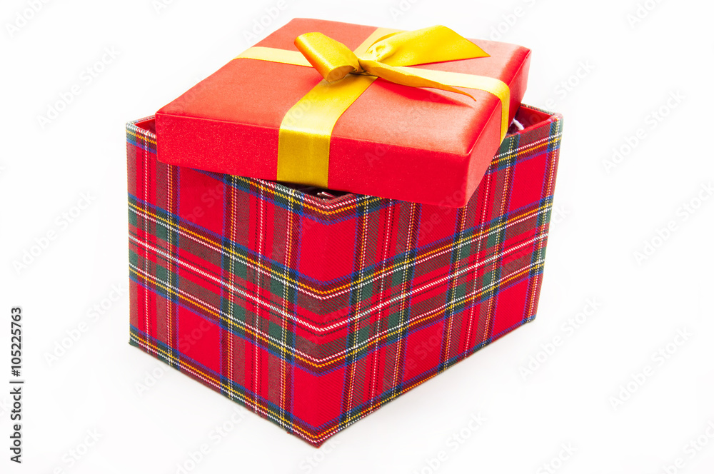 Giftred Box With Lid Ajar On A White Background Foto Poster