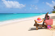canvas print picture Resting Chair with bag, hat, flip-flops and sunglasses on sunny