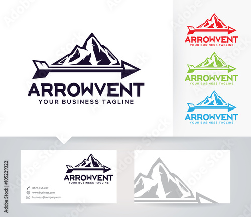 Arrow Venture Vector Logo With Alternative Colors And Business Card