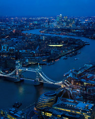 Fototapeta Panorama Miasta London At Night. River Thames, Tower Bridge, Canary Wharf
