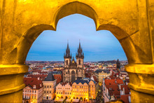 Prague, Tyn Church And Old Tow...
