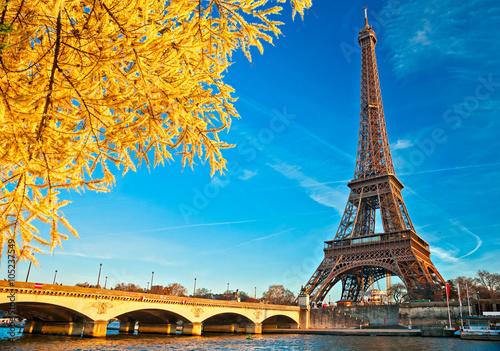Fotobehang Eiffeltoren Eiffel tower at sunrise, Paris.