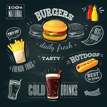 Chalkboard Fastfood ADs - Hamb...