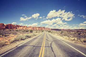 Vintage stylized scenic road, Arches National Park, USA