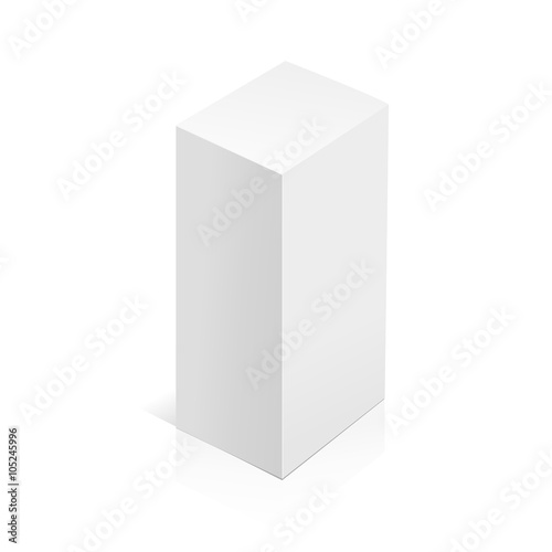 White realistic 3D box  Object isolated on white background