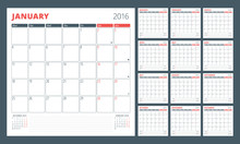 Calendar Planner For 2016 Year. Set Of 12 Months. Design Print Template With Place For Photos And Notes. Week Starts Monday. Stationery Design