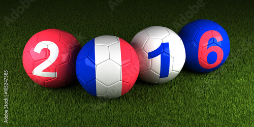 Photo  UEFA EURO 2016 balls with the flag of France and the numbers on