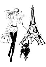 Fashion Woman With Little Dog Near Eiffel Tower