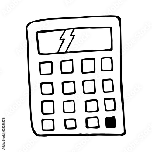 Vector calculator cartoon, doodle isolated element - Buy this stock