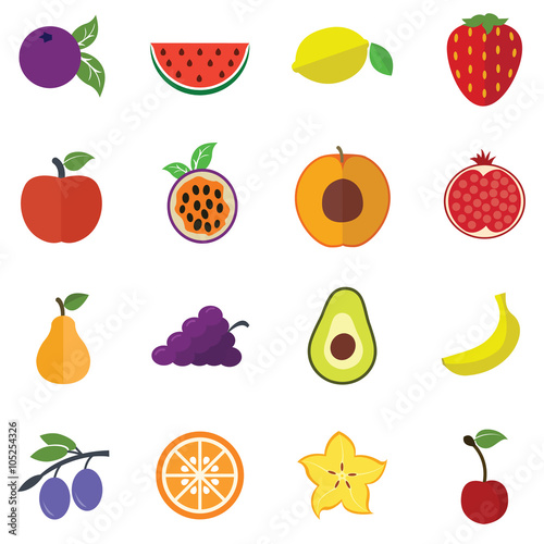 Foto op Aluminium Pixel Collection of Fruits icons