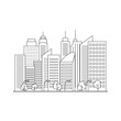 Vector city line landscape. Architecture background. House line style. Vector illustration.