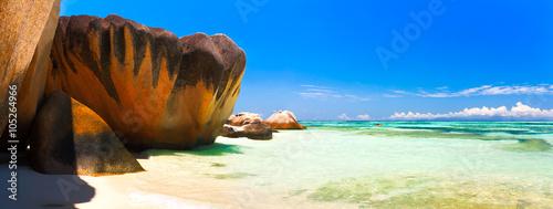 Deurstickers Tropical strand Panoramic view of a tropical island beach, Seychelles, Indian Ocean.