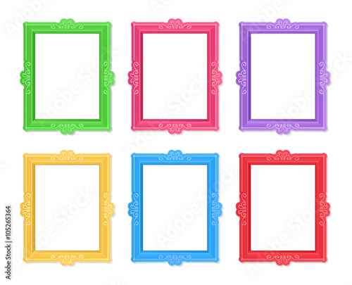20f44d722907 Realistic design photo frames on white background. Decorative template for  baby