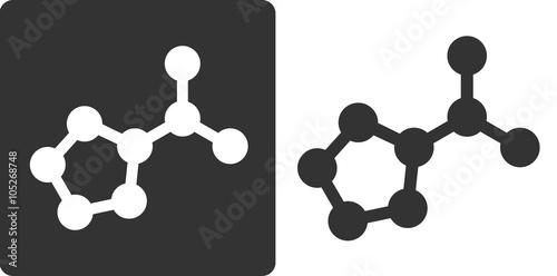 Photo Proline amino acid molecule, flat icon style.