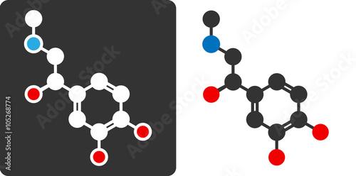 Photo Adrenaline (epinephrin, adrenalin) molecule, flat icon style.