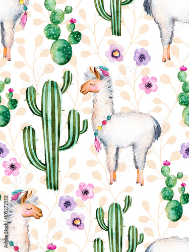 Cotton fabric Seamless texture with high quality hand painted watercolor elements for your design with cactus plants,flowers and lama.For your unique creation,wallpaper,background,blogs,pattern,invitations and more