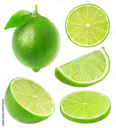 Collection of isolated lime slices Billede på lærred