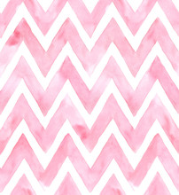 Chevron Of Pink Color On White...