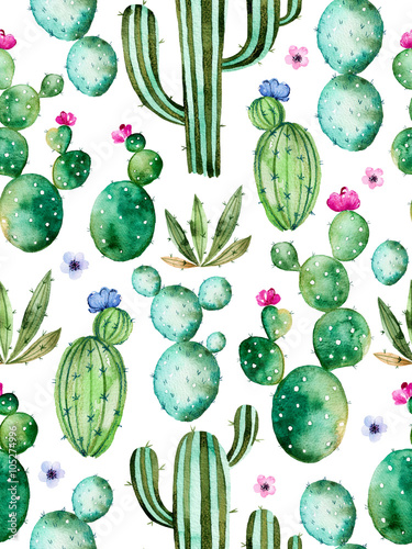 Poster de jardin Aquarelle la Nature Seamless pattern with high quality hand painted watercolor cactus plants and purple flowers.Pastel colors,Perfect for your project,wedding,greeting card,photos,blogs,wallpaper,pattern,texture and more