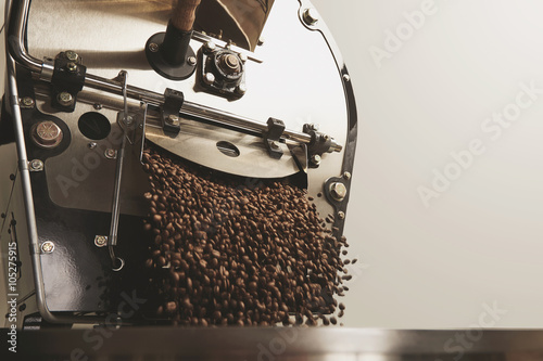 Slika na platnu Many beans freshly roasted fall inside cooling machine