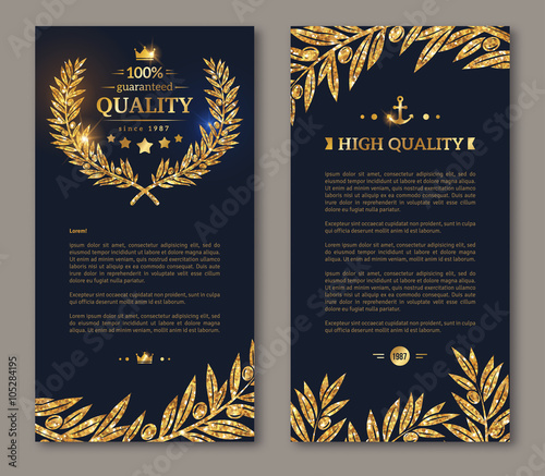 Fotografie, Obraz  Flyer template laurel wreath and gold confetti