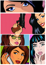 Illustrations For Comic Books With Retro Girl In Pop Art Style