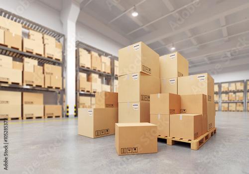 Photographie  Boîtes en carton sur une palette. Illustration 3D