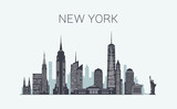 Fototapeta Nowy York - New York skyline silhouette
