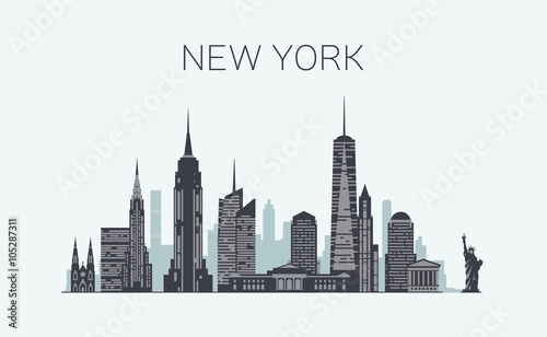 New York skyline silhouette - 105287311
