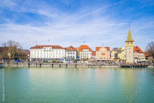Fototapeta Lindau harbour, Lake Constance (Bavaria, Germany), obraz na płótnie