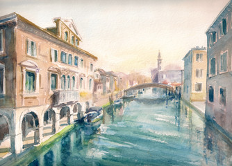 Fototapeta Wenecja Canal at the old town of Chioggia - Italy.Picture created with watercolors