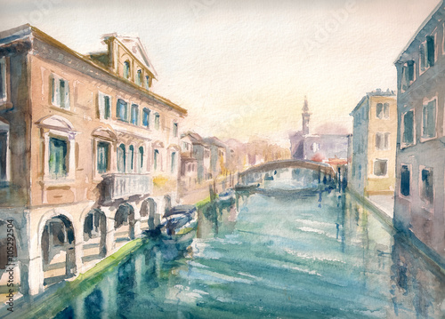 Canal at the old town of Chioggia - Italy.Picture created with watercolors - 105292504