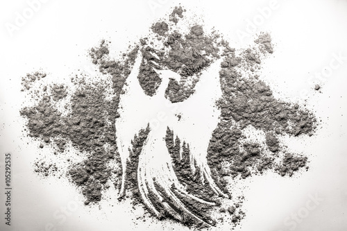 Phoenix bird illustration, rebirth in the ash Fotobehang