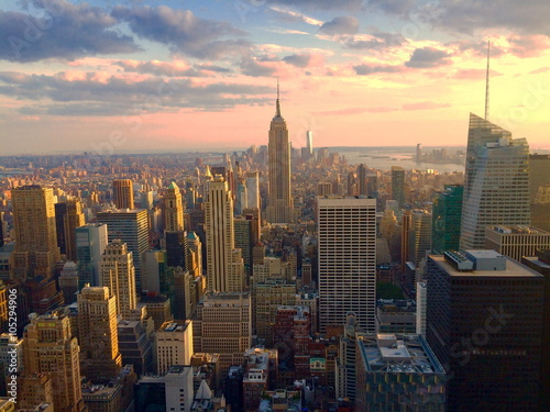 Fototapety, obrazy: Manhattan al tramonto. New York.
