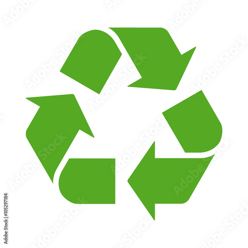 Fotografía  Green recycle or recycling arrows flat icon for apps and websites