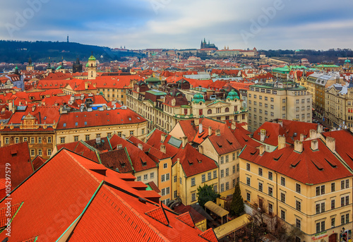 Wall Murals Prague Traditional red roofs of Prague