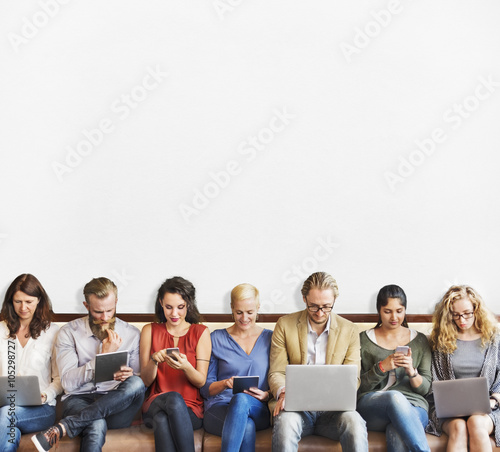 Obraz Diversity People Connection Digital Devices Browsing Concept - fototapety do salonu