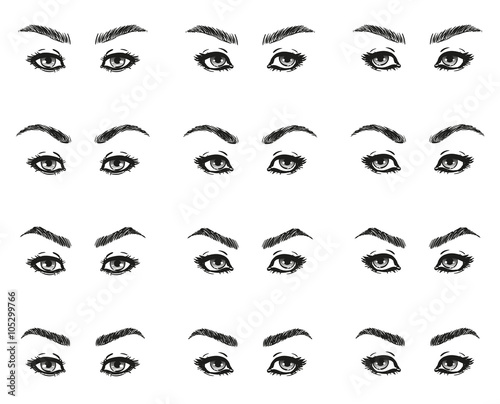 icons set female eyes look with long eyelashes and eyebrows