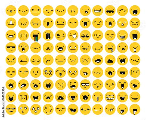 Photo  Great set 99 yellow emotion isolated on white