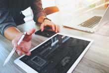 Website Designer Working Digital Tablet And Computer Laptop And