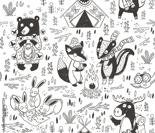 Photo  Hand drawn camping seamless pattern with cartoon characters in monochrom